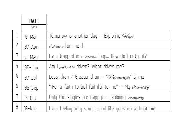 schedule of workshops